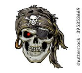 pirate skull with black bandana. | Shutterstock .eps vector #395353669