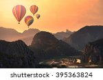 colorful hot air balloons... | Shutterstock . vector #395363824