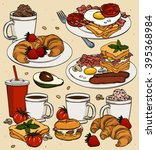 vector hand drawn breakfast and ... | Shutterstock .eps vector #395368984