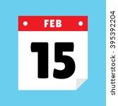 calendar icon flat february 15