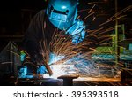 worker with protective mask... | Shutterstock . vector #395393518