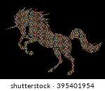unicorn silhouette designed...   Shutterstock .eps vector #395401954