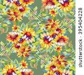 seamless pattern with sunflower ...   Shutterstock . vector #395404228