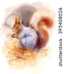 Watercolor Squirrel Sitting On...
