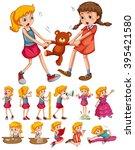 girls in different activities... | Shutterstock .eps vector #395421580