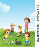 kids having fun in the park...   Shutterstock .eps vector #395421646