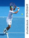 Small photo of MELBOURNE, AUSTRALIA - JANUARY 26, 2016: Seventeen times Grand Slam champion Roger Federer of Switzerland in action during quarterfinal match at Australian Open 2016 in Melbourne Park