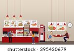 fast food restaurant interior... | Shutterstock .eps vector #395430679