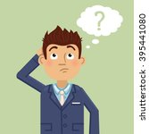 illustration of a thinking man. ... | Shutterstock .eps vector #395441080