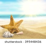 3d rendering beach holidays and ... | Shutterstock . vector #395448436