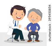 male doctor examining patient.... | Shutterstock .eps vector #395450854