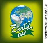 greeting card with earth day.... | Shutterstock .eps vector #395455210