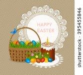 easter cake kulich  easter...   Shutterstock .eps vector #395455846