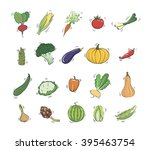 vegetables colored icons | Shutterstock .eps vector #395463754