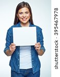 smiling woman holding white... | Shutterstock . vector #395467978