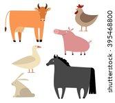 farm animals set. flat... | Shutterstock .eps vector #395468800