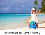 Cute Little Girl Travel On...