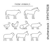 line set of farm animals.... | Shutterstock . vector #395475028
