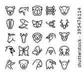 animals and birds vector icons 6 | Shutterstock .eps vector #395476114