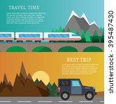 outdoor set flat travel vector... | Shutterstock .eps vector #395487430