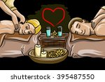 couple man and woman in massage ... | Shutterstock .eps vector #395487550