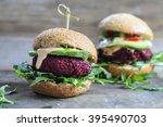 vegetarian beetroot burgers... | Shutterstock . vector #395490703