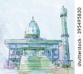 islamic design vector mosque... | Shutterstock .eps vector #395495830