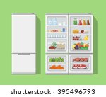 refrigerator opened with food.... | Shutterstock .eps vector #395496793