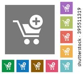add to cart flat icon set on...