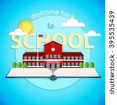 pop up book with school... | Shutterstock .eps vector #395535439