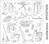 laundry themed doodle set.... | Shutterstock .eps vector #395537650