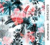 Blue Palm Trees Seamless...