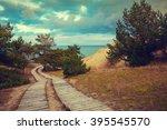 two wooden pathways in park    Shutterstock . vector #395545570