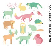 set of forest animals made in... | Shutterstock .eps vector #395554030