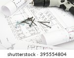 architecture plan and rolls of... | Shutterstock . vector #395554804