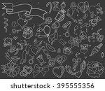 valentine day chalk line art... | Shutterstock . vector #395555356