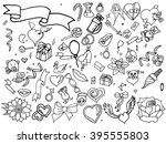valentine day coloring line art ... | Shutterstock .eps vector #395555803