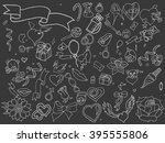 valentine day chalk line art... | Shutterstock .eps vector #395555806