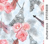 seamless pattern with roses  a... | Shutterstock . vector #395558008