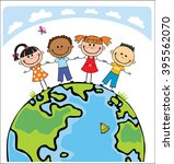 globe kids. international... | Shutterstock . vector #395562070