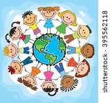 globe kids. international... | Shutterstock . vector #395562118