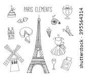 paris illustrations. hand drawn ... | Shutterstock .eps vector #395564314