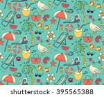hand drawn summer time theme... | Shutterstock .eps vector #395565388