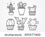 set of cartoon cute cacti | Shutterstock .eps vector #395577400