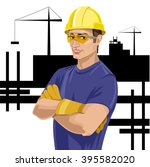 worker  foreman  athletic man ... | Shutterstock .eps vector #395582020
