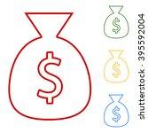 money bag. set of line icons