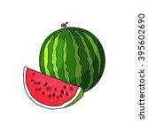 juicy watermelon summer fruit... | Shutterstock .eps vector #395602690