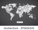 scribble sketch of world map... | Shutterstock .eps vector #395606320