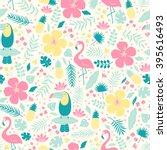 vector seamless tropical... | Shutterstock .eps vector #395616493