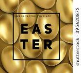 Golden Easter Eggs Background...